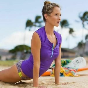 ATHLETA Intrepid Cap Sleeve Sun Shield Swim Top XS